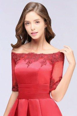 Chic manches mi-longues Lace-up Off-épaule dentelle Appliques Courtes Robes de bal_8