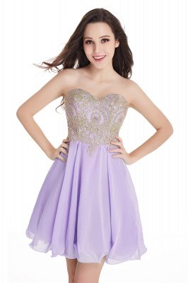 CYNTHIA | A-Line Strapless Short Chiffon Prom Dresses with Beadings_6