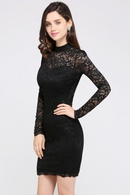 ARYANNA | Sheath High Neck Short Black Lace Cocktail Dresses_3