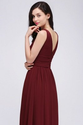 COLLINS | V-Neck A-line Floor-length Burgundy Chiffon Evening Dresses_10