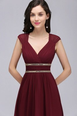ALISON | Sheath V Neck Burgundy Chiffon Long Evening Dresses With Beads_12
