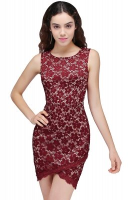 BRILEY | Bodycon Round Neck Short Lace Burgundy Homecoming Dresses_1