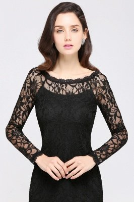 Sexy Black Lace Long Sleeves Mermaid Prom Dresses_14