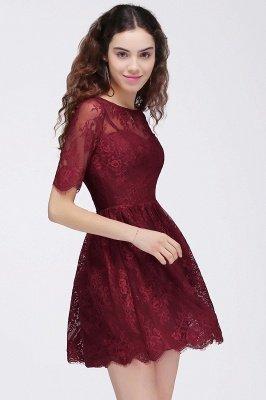 BRITTANY | A linha de vestidos de baile em volta do pescoço curto Lace Borgonha_5