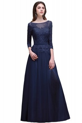 AUBREY | A-line Scoop Champagne Prom Dress With Sleeve_3