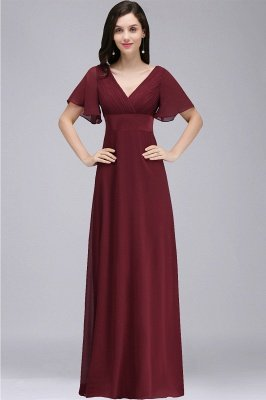 COLETTE | A-Linie bodenlanges Chiffon Burgund Prom Kleid mit weichen Falten_7