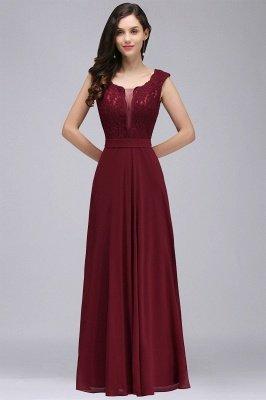CORINNE | A-Linie bodenlange Spitze Burgund elegantes Abendkleid_11