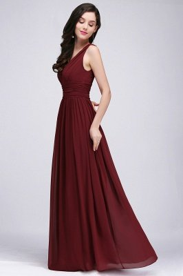 COLLINS | V-Neck A-line Floor-length Burgundy Chiffon Evening Dresses_11