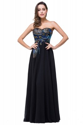 ADALYNN | A-line Sweetheart Black Evening Dress with Embroidery_2