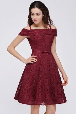 BRISTOL | A-Line Spaghetti Straps Short Lace Burgundy Homecoming Dresses_5