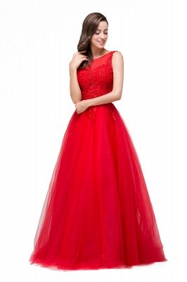 FIONA | A-Line Sleeveless Floor-Length Appliques Tulle Prom Dresses_5
