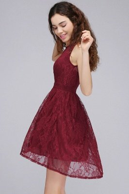 BRIELLE | A-ligne col rond dentelle courte robes de bal Bourgogne_3