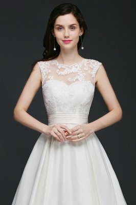 Ivory dos nu en mousseline de soie chapelle-train dentelle robe de bal robes de mariée_5