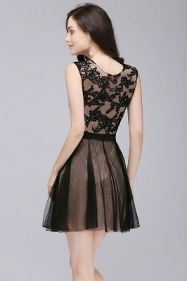 ELEANOR | A-line Crew Short Sleeveless Tulle Lace Appliques Prom Dresses_2