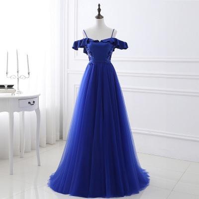 Потрясающие с плеча синие платья тюль-бейс платья Тюль_5