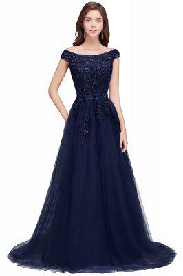 EMBER | A-line Off-shoulder Floor-length Tulle Appliques Prom Dresses_3