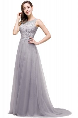 ABRIL | A-line Court Train Tulle Evening Dress with Appliques_7