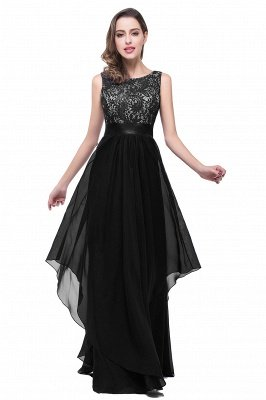 ADDISON | A-line Floor-length Chiffon Evening Dress with Lace_4
