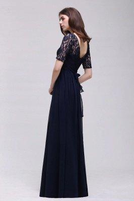 AUBRIELLE | Vestido de fiesta elegante de una línea de gasa Scoop con encaje_12