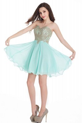 CYNTHIA | A-Line Strapless Short Chiffon Prom Dresses with Beadings_14