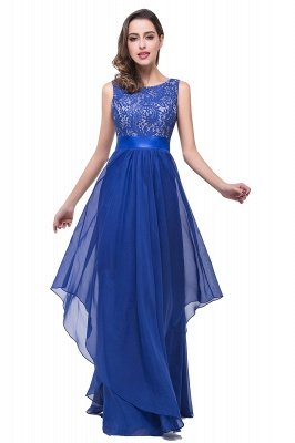 ADDISON | A-line Floor-length Chiffon Evening Dress with Lace_10