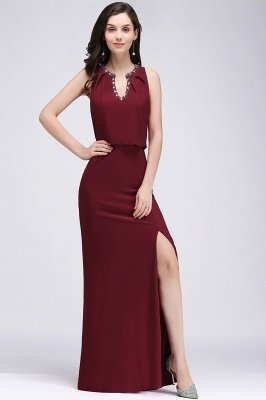 EDITH | A-line V-neck Floor-length Sleeveless Burgundy Prom Dresses with Crystal_5