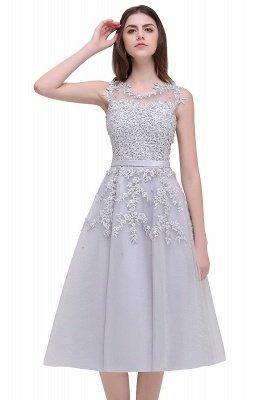 ЭМИРА | A-Line Crew Tea Length Кружева Appliques Короткие платья выпускного вечера_20