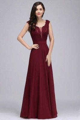 CORINNE | A-Linie bodenlange Spitze Burgund elegantes Abendkleid_7