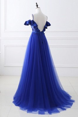 Stunning Off the shoulder blue Tulle ball gown prom dresses_6