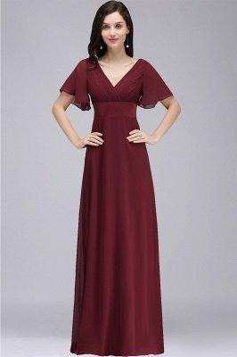 COLETTE | A-Linie bodenlanges Chiffon Burgund Prom Kleid mit weichen Falten_1