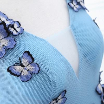 БРЭННА | Принцесса V Шея Часовня Поезд Шифон Sky Blue Пром платья с Butterfly Applique_4