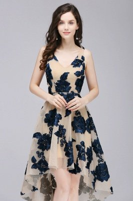 Short Appliques Tulle V Neck Prom Dresses_7