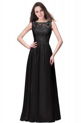 ELYSE | A-line Sleeveless Crew Floor-length Lace Top Chiffon Prom Dresses_7