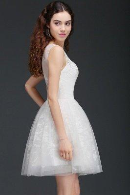 ALEXANDRIA | Une ligne Sheer Whit courtes robes de cocktail en tulle avec de la dentelle_2