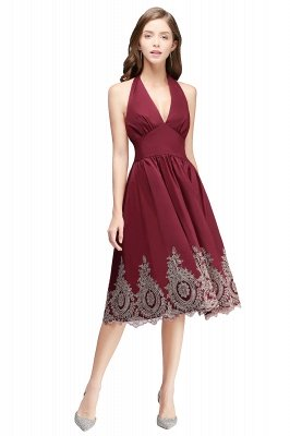 CAMILLE | A-line Halter Neck Short Burgundy Puffy Cocktail Dresses_1