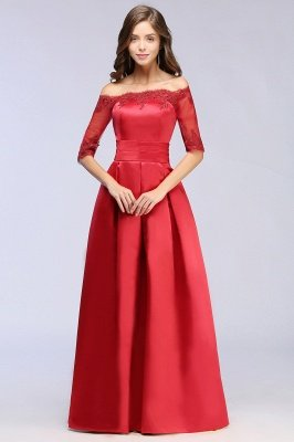 A-Linie halbe Ärmel Off-Schulter Lace-up Appliques Abendkleider_10