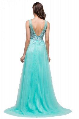 ABRIL | A-line Court Train Tulle Evening Dress with Appliques_10