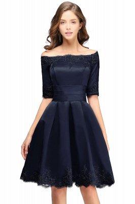 Chic manches mi-longues Lace-up Off-épaule dentelle Appliques Courtes Robes de bal_4