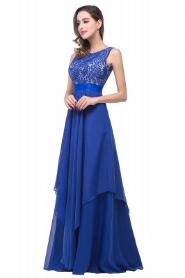 ADDISON | A-line Floor-length Chiffon Evening Dress with Lace_7