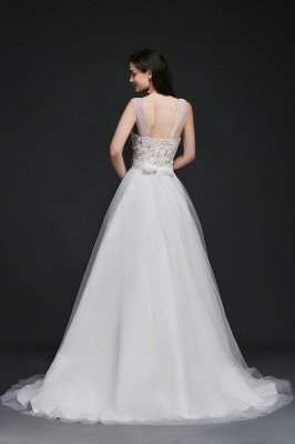 BAILEE | A-line Scoop Tulle Elegant Wedding Dress With Lace_4