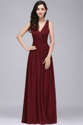 COLLINS | V-Neck A-line Floor-length Burgundy Chiffon Evening Dresses_2