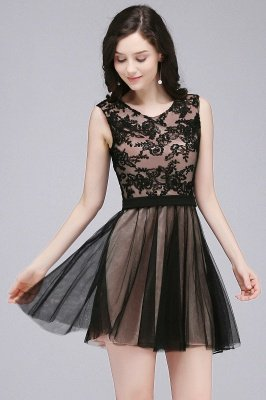 ELEANOR | A-line Crew Short Sleeveless Tulle Lace Appliques Prom Dresses_1