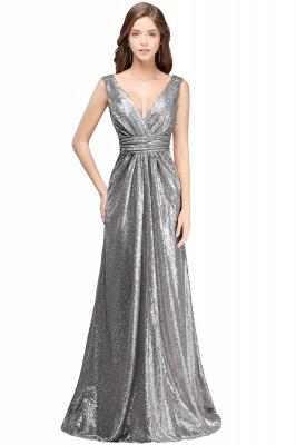 Elegante A-Linie Open Back Pailletten Sleeveless V-Ausschnitt Abendkleider_2