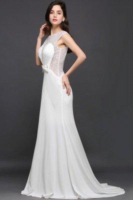 AYLEEN | Mermaid Scoop White Chiffon Evening Dress With Beadings_3