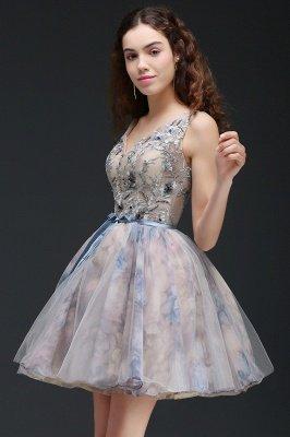 ANN | Vestido de regreso a casa lindo corto con apliques_6