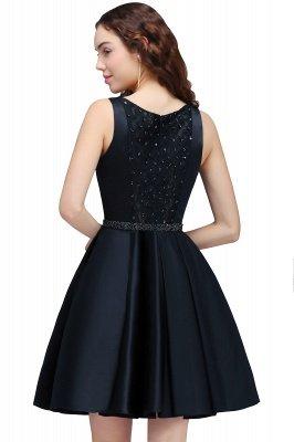 BRIANNA | A-Line cuello redondo corto Dark Navy vestidos de fiesta con cristal_3