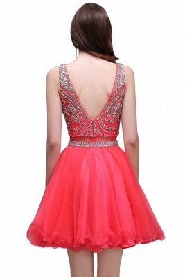 BIANCA   Puffy Straps Short Tulle Homecoming Dresses With Crystal_3