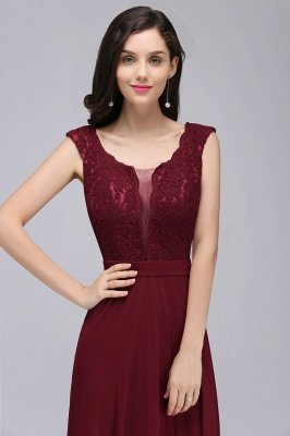CORINNE | A-line Floor-length Lace Burgundy Elegant Prom Dress_11