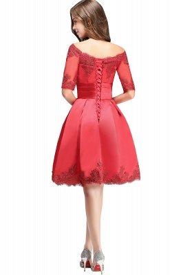 Chic manches mi-longues Lace-up Off-épaule dentelle Appliques Courtes Robes de bal_13