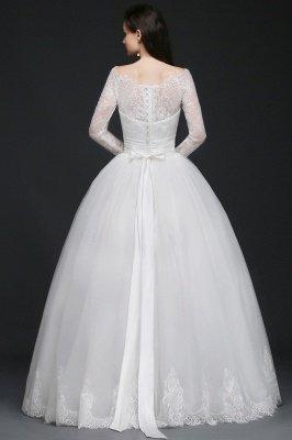 AZARIA | فستان زفاف الأميرة سكوب تول الأبيض مع الدانتيل_4
